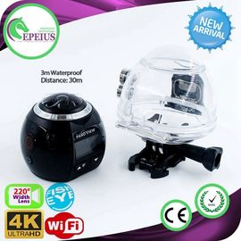 China 1440p 60fps Wifi Action VR 360 Camera With Fish Eye Len / Panoramic Visual supplier