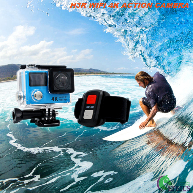 "4K Ultra HD H3R Waterproof Action Camera With 2.0"" Dual Screen Remote 10M"