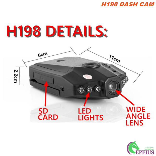 Motion Detection Vehicle Security Camera H198 Night Vision 6 IR LED 90 Degree