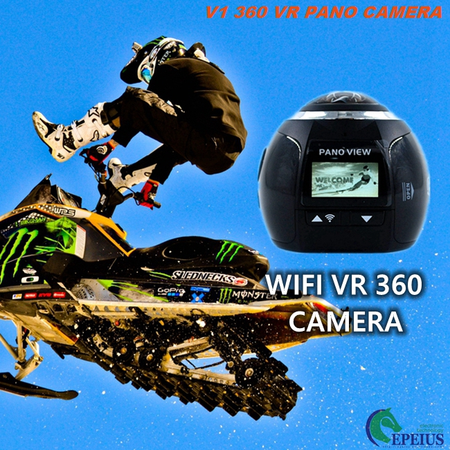 Panoramic Hd Sports Camera With Waterproof Case , V1 360 Fisheye WIFi Cycle Helmet Camera