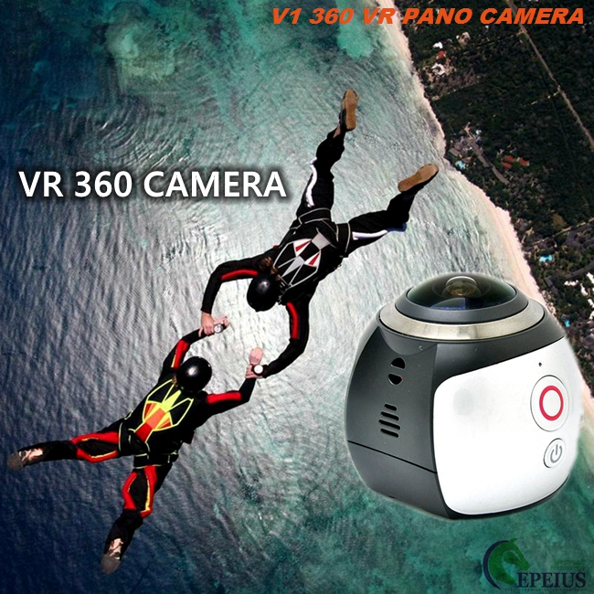 2.7K VR 360 Degree Action Camera , V1 Vr Video Camera Lens 30 Meter Waterproof