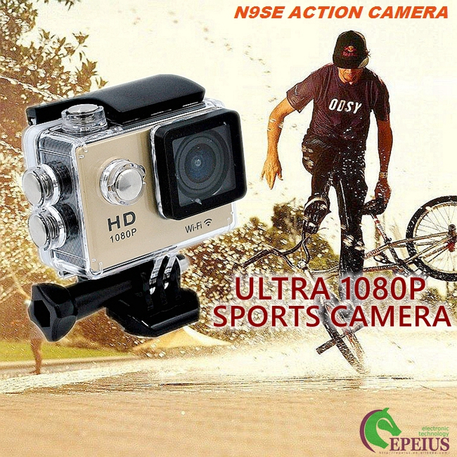 Multi Languages 1080p Hd Wifi Action Camera With Waterproof Case / Lithium Battery