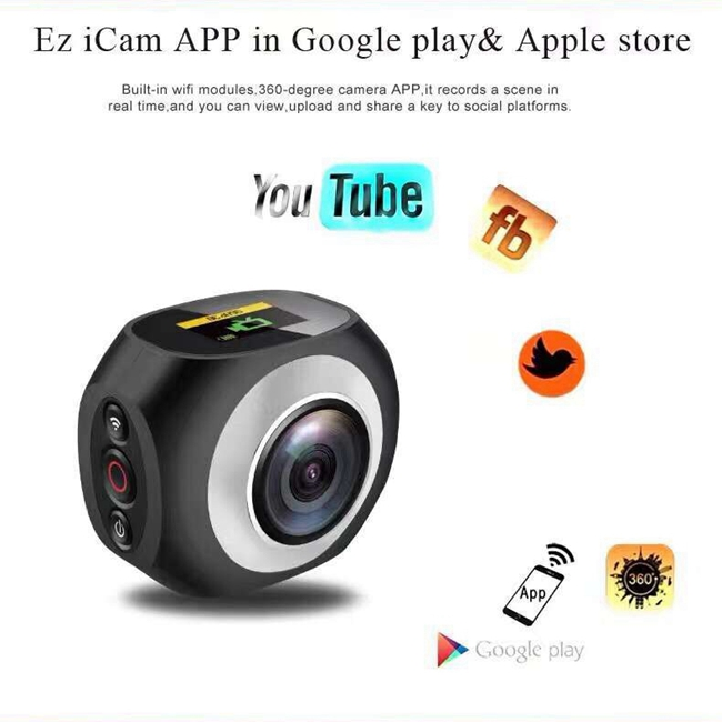 High Speed Dual Lens 4k 360 Panorama Camera With 2.4G 10 Meters Remote Control