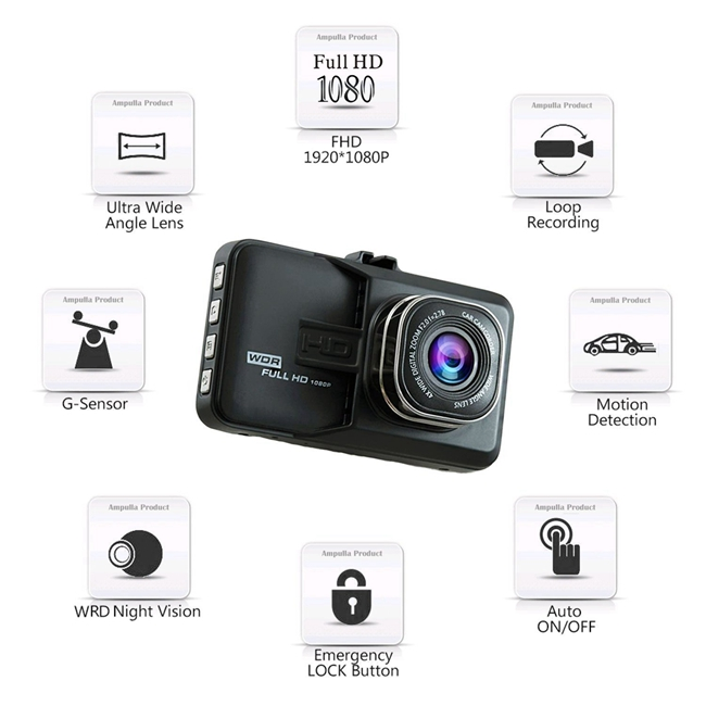 5.0M Night Vision Dash Cam GS30 Parking Mode Generalplus true HD With G - Sensor