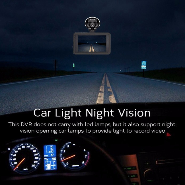 "3.0"" LCD Night Vision Car Digital Video Recorder 1080P For Loop Recording"