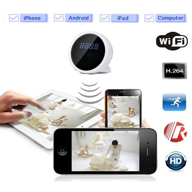 IR Night Vision Wifi Camera Clock Motion Detection Wireless IP 1080P HD